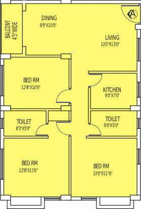 PS Marvella (3BHK+2T (1,485 sq ft) Apartment 1485 sq ft)