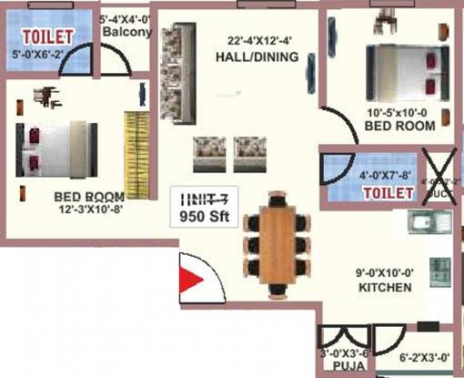Fortitude Proxima (2BHK+2T (950 sq ft)   Pooja Room Apartment 950 sq ft)