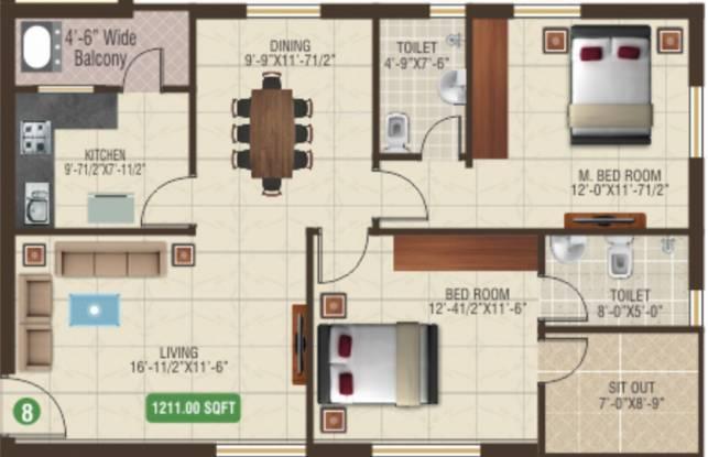Aditya Aditya Heights (2BHK+2T (1,211 sq ft) Apartment 1211 sq ft)