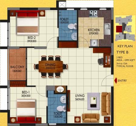 Sun Medanta (2BHK+2T (1,099 sq ft) Apartment 1099 sq ft)