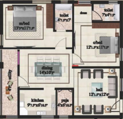 Parkville Lakshmi Nivas (2BHK+2T (930 sq ft) Apartment 930 sq ft)