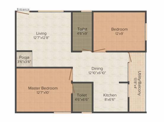 Sumukha Sterling (2BHK+2T (960 sq ft) Apartment 960 sq ft)