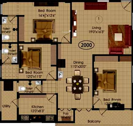 Pavan Sarojinidevi Enclaves (3BHK+3T (2,000 sq ft) + Pooja Room Apartment 2000 sq ft)