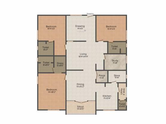 S Square Malibu (3BHK+4T (3,065 sq ft)   Study Room Apartment 3065 sq ft)