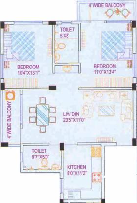 Amrita Annapurna (2BHK+2T (1,261 sq ft) Apartment 1261 sq ft)