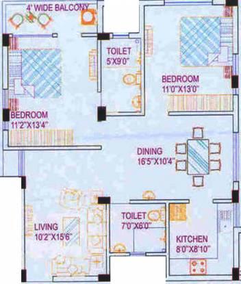 Amrita Annapurna (2BHK+2T (1,269 sq ft) Apartment 1269 sq ft)