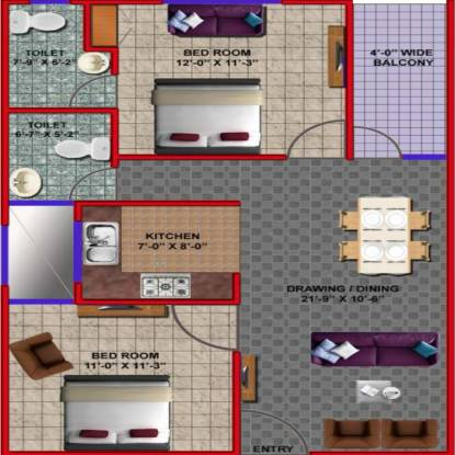 Gulmohar Gulmohar Apartment (2BHK+2T (950 sq ft) Apartment 950 sq ft)