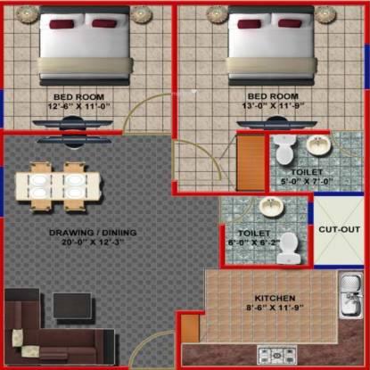 Gulmohar Gulmohar Apartment (2BHK+2T (1,100 sq ft) Apartment 1100 sq ft)