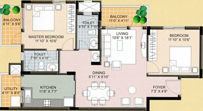 KSR Crimson Tide (2BHK+2T (1,123 sq ft) Apartment 1123 sq ft)