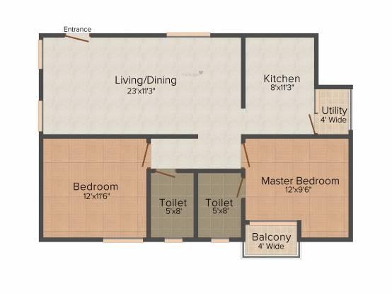 Ambiance Aspen (2BHK+2T (1,047 sq ft) Apartment 1047 sq ft)
