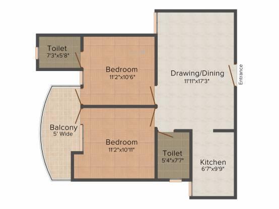 Oxirich New Delhi Extension (2BHK+2T (984 sq ft) Apartment 984 sq ft)