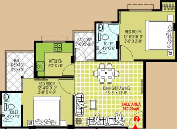 Ruheen Royals (2BHK+2T (980 sq ft) Apartment 980 sq ft)