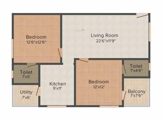 Sree Sai Shreya Constructions Bhanu Jahnavi (2BHK+2T (1,172 sq ft) Apartment 1172 sq ft)