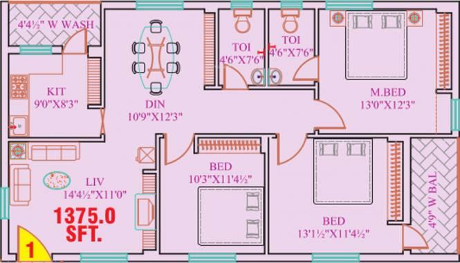 Garuda Crest (3BHK+2T (1,375 sq ft) Apartment 1375 sq ft)