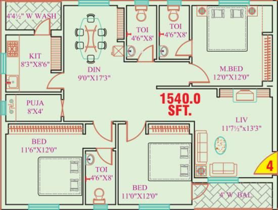 Garuda Crest (3BHK+3T (1,540 sq ft) + Pooja Room Apartment 1540 sq ft)