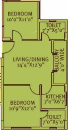Siddha Pine Woods (2BHK+2T (865 sq ft) Apartment 865 sq ft)