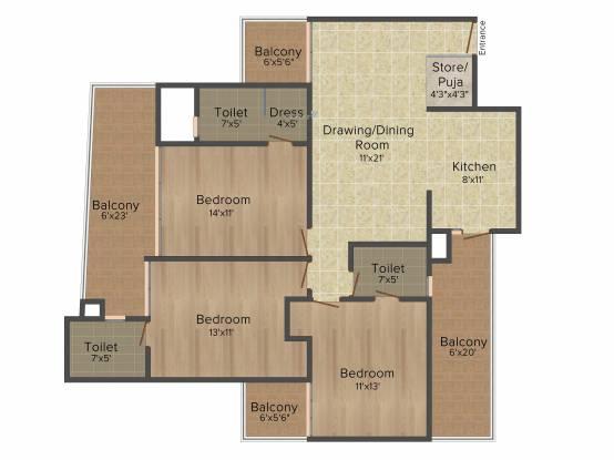 Paradigm The Hermitage Park (3BHK+3T (1,560 sq ft) Apartment 1560 sq ft)