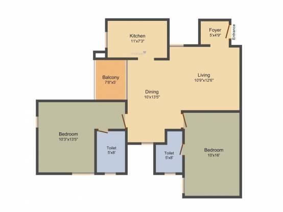 Appaswamy Habitat (2BHK+2T (1,244 sq ft) Apartment 1244 sq ft)