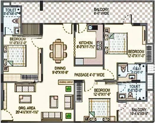 Rajul Augusta (3BHK+3T (1,742 sq ft) Apartment 1742 sq ft)