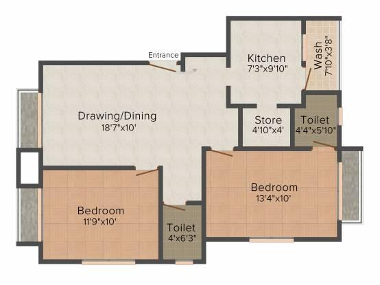 AVS Kavya Apartments (2BHK+2T (1,021 sq ft) Apartment 1021 sq ft)