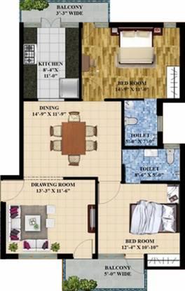 E Square Palash (2BHK+2T (1,250 sq ft) Apartment 1250 sq ft)