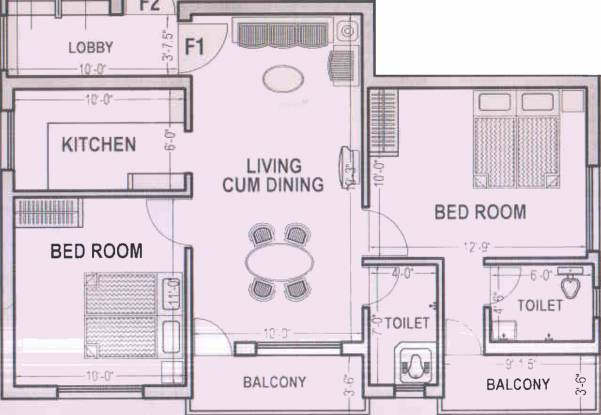 Vigneshwara Devaki Nagar (2BHK+2T (781 sq ft) Apartment 781 sq ft)
