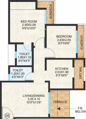 Raunak City (2BHK+2T (860 sq ft) Apartment 860 sq ft)