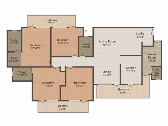 CHD Avenue 71 (4BHK+3T (2,193 sq ft) + Servant Room Apartment 2193 sq ft)