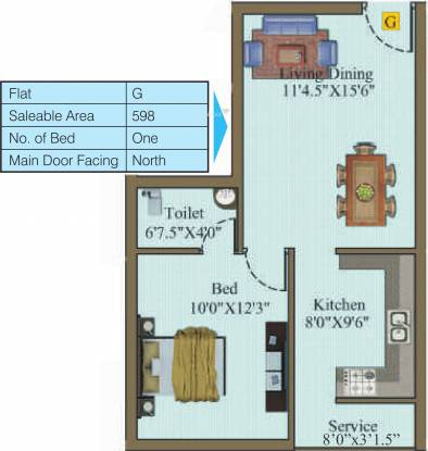 Sri Atreya Apartments (1BHK+1T (598 sq ft) Apartment 598 sq ft)