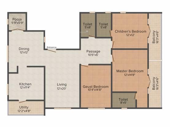 Apranje Elan (3BHK+3T (1,861 sq ft)   Pooja Room Apartment 1861 sq ft)