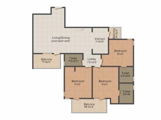 Vipul Gardens (3BHK+3T (1,540 sq ft) Apartment 1540 sq ft)