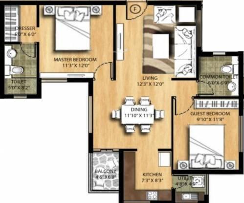 Rakindo Orchids (2BHK+2T (977 sq ft) Apartment 977 sq ft)