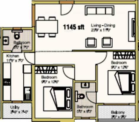 Prospero Hilltop (2BHK+2T (1,145 sq ft) Apartment 1145 sq ft)