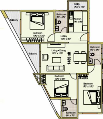 Prospero Hilltop (3BHK+3T (1,485 sq ft) Apartment 1485 sq ft)