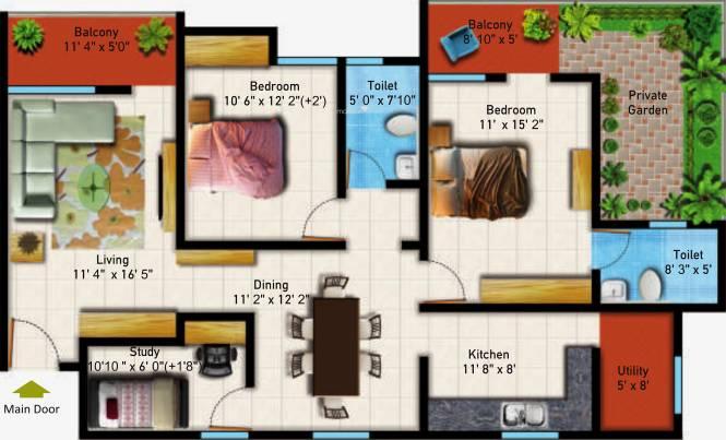 Astro Maison Douce (2BHK+2T (1,393 sq ft)   Study Room Apartment 1393 sq ft)