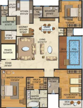 Lodha Bellezza P3 (3BHK+4T (3,500 sq ft)   Servant Room Apartment 3500 sq ft)