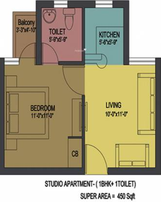 Yatharth Delhi Heights (1BHK+1T (450 sq ft) Apartment 450 sq ft)