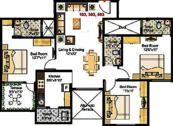 Prayag Shanti Prayag (3BHK+3T (1,350 sq ft) Apartment 1350 sq ft)