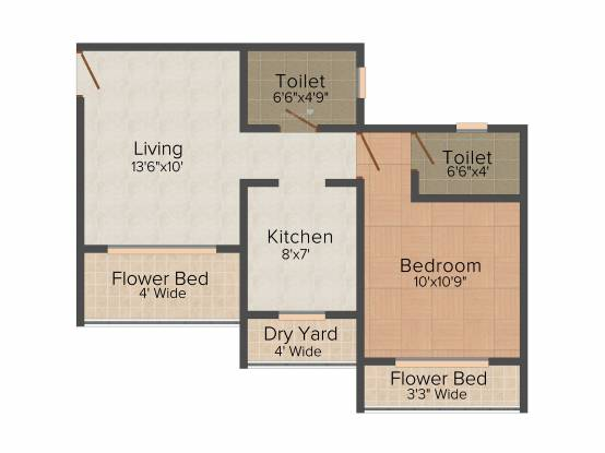 SK Imperial Heights (1BHK+1T (674 sq ft) Apartment 674 sq ft)