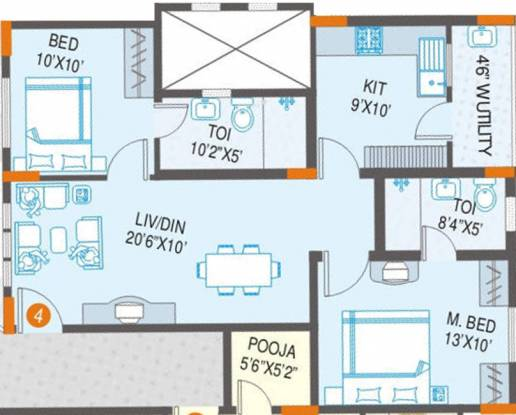 SMR Vinay Meenakshi (2BHK+2T (975 sq ft)   Pooja Room Apartment 975 sq ft)