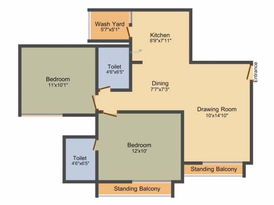 Gala Marigold (2BHK+2T (1,076 sq ft) Apartment 1076 sq ft)