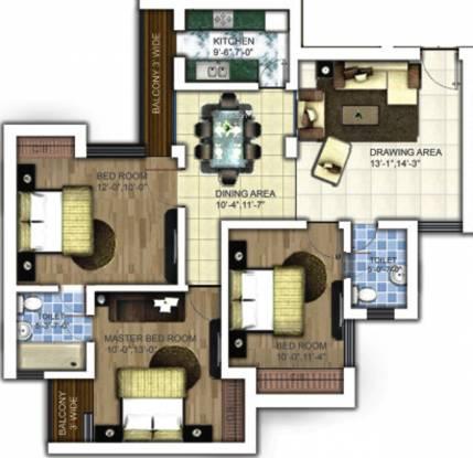 Samiah Melrose Square (3BHK+2T (1,500 sq ft) Apartment 1500 sq ft)