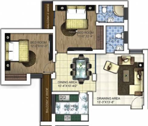 Samiah Melrose Square (2BHK+2T (1,250 sq ft) Apartment 1250 sq ft)