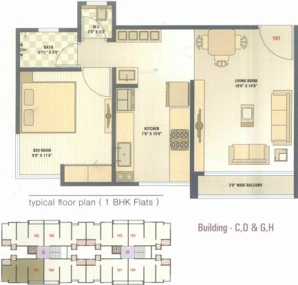 S2N Orchid Blossom (1BHK+1T (741 sq ft) Apartment 741 sq ft)