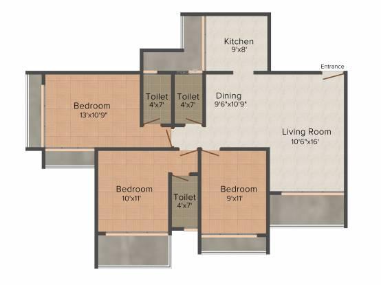 Progressive Meera Aagan (3BHK+3T (1,700 sq ft) Apartment 1700 sq ft)