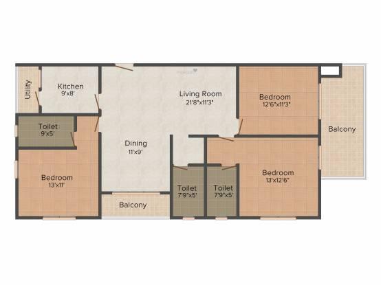 Aspirations Crescent (3BHK+3T (1,831 sq ft) Apartment 1831 sq ft)