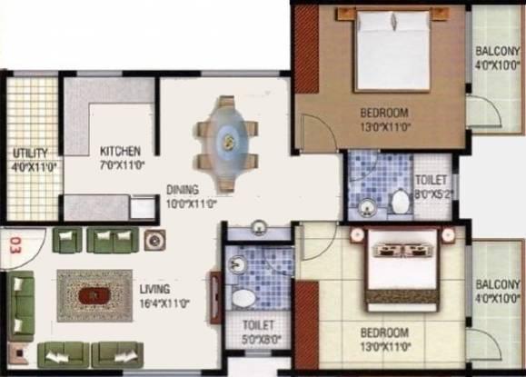 Shakthi Silver Springs (2BHK+2T (1,195 sq ft) Apartment 1195 sq ft)