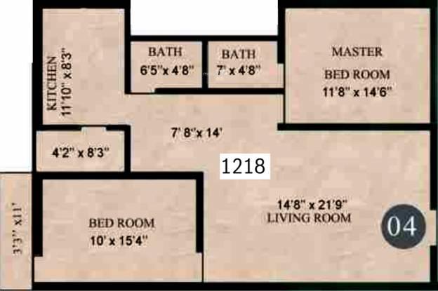 Lorven Leo (2BHK+2T (1,218 sq ft) Apartment 1218 sq ft)