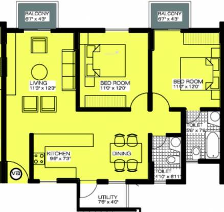 Alpine Viva (2BHK+2T (1,086 sq ft) Apartment 1086 sq ft)
