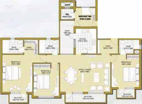 ATS One Hamlet (3BHK+4T (1,636 sq ft) + Servant Room Apartment 1636 sq ft)